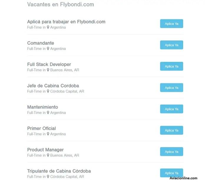 Flybondi - búsquedas laborales 21ABR