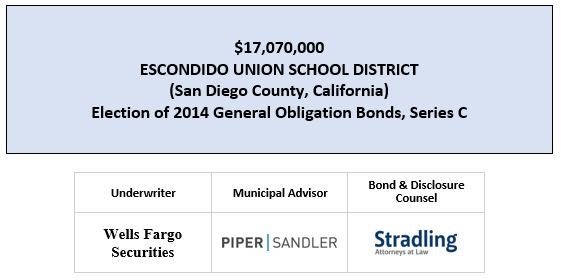 $17,070,000 ESCONDIDO UNION SCHOOL DISTRICT (San Diego County, California) Election of 2014 General Obligation Bonds, Series C FOS POSTED 3-20-20