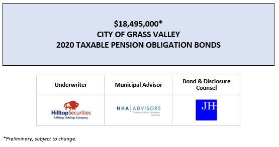 $18,495,000* CITY OF GRASS VALLEY 2020 TAXABLE PENSION OBLIGATION BONDS POS POSTED 3-12-20