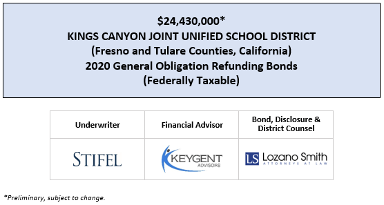 $24,430,000* KINGS CANYON JOINT UNIFIED SCHOOL DISTRICT (Fresno and Tulare Counties, California) 2020 GENERAL OBLIGATION REFUNDING BONDS (FEDERALLY TAXABLE) POS POSTED 3-12-20