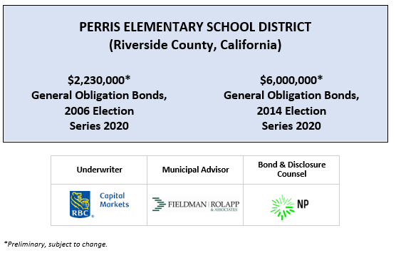 PERRIS ELEMENTARY SCHOOL DISTRICT (Riverside County, California) $2,230,000* General Obligation Bonds, 2006 Election Series 2020 $6,000,000* General Obligation Bonds, 2014 Election Series 2020 POS POSTED 3-19-20