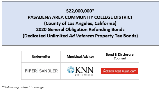 $22,165,000 PASADENA AREA COMMUNITY COLLEGE DISTRICT (County of Los Angeles, California) 2020 General Obligation Refunding Bonds (Dedicated Unlimited Ad Valorem Property Tax Bonds) FOS POSTED 3-5-20