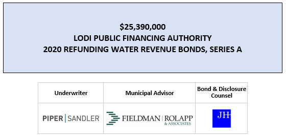 $25,390,000 LODI PUBLIC FINANCING AUTHORITY 2020 REFUNDING WATER REVENUE BONDS, SERIES A FOS POSTED 4-14-20