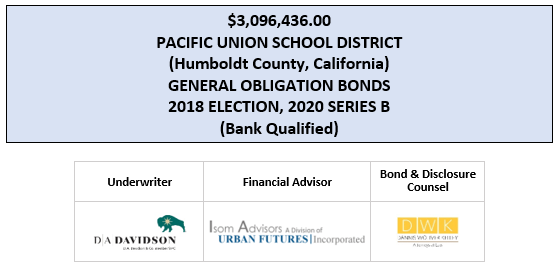$3,096,436.00 PACIFIC UNION SCHOOL DISTRICT (Humboldt County, California) GENERAL OBLIGATION BONDS 2018 ELECTION, 2020 SERIES B (Bank Qualified) FOS POSTED 4-2-20