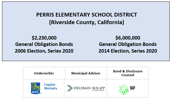 PERRIS ELEMENTARY SCHOOL DISTRICT (Riverside County, California) $2,230,000 General Obligation Bonds 2006 Election, Series 2020 $6,000,000 General Obligation Bonds 2014 Election, Series 2020 FOS POSTED 4-15-20