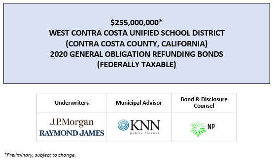 $255,000,000* WEST CONTRA COSTA UNIFIED SCHOOL DISTRICT (CONTRA COSTA COUNTY, CALIFORNIA) 2020 GENERAL OBLIGATION REFUNDING BONDS (FEDERALLY TAXABLE) POS POSTED 4-3-20