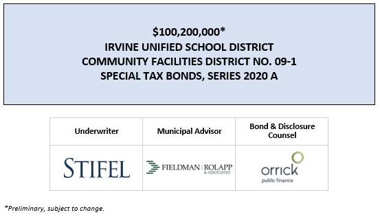 $100,200,000* IRVINE UNIFIED SCHOOL DISTRICT COMMUNITY FACILITIES DISTRICT NO. 09-1 SPECIAL TAX BONDS, SERIES 2020 A POS POSTED 4-19-20