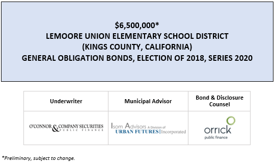 $17,110,000* LEMOORE UNION ELEMENTARY SCHOOL DISTRICT CERTIFICATES OF PARTICIPATION (2020 CAPITAL IMPROVEMENT PROJECTS) POS POSTED 4-29-20
