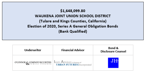 $1,648,099.80 WAUKENA JOINT UNION SCHOOL DISTRICT (Tulare and Kings Counties, California) Election of 2020, Series A General Obligation Bonds (Bank Qualified) FOS POSTED 6-23-20