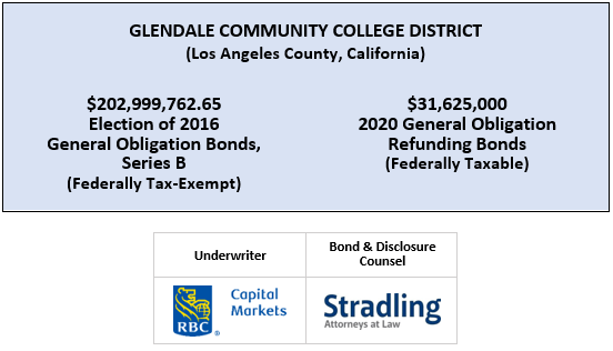 GLENDALE COMMUNITY COLLEGE DISTRICT (Los Angeles County, California)$202,999,762.65 Election of 2016 General Obligation Bonds, Series B (Federally Tax-Exempt) $31,625,000 2020 General Obligation Refunding Bonds (Federally Taxable) FOS POSTED 6-24-20