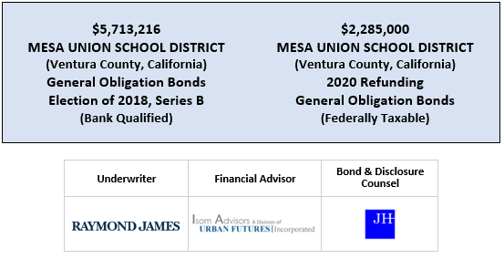 $5,713,216 MESA UNION SCHOOL DISTRICT (Ventura County, California) General Obligation Bonds Election of 2018, Series B (Bank Qualified) $2,285,000 MESA UNION SCHOOL DISTRICT (Ventura County, California) 2020 Refunding General Obligation Bonds (Federally Taxable FOS POSTED 7-6-20