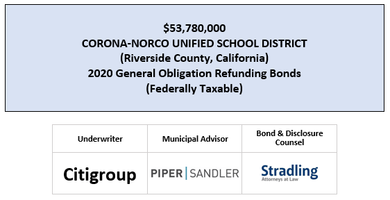 $53,780,000 CORONA-NORCO UNIFIED SCHOOL DISTRICT (Riverside County, California) 2020 General Obligation Refunding Bonds (Federally Taxable) FOS POSTED 7-24-20