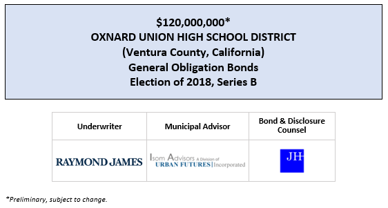 $120,000,000* OXNARD UNION HIGH SCHOOL DISTRICT (Ventura County, California) General Obligation Bonds Election of 2018, Series B POS POSTED 7-9-2020