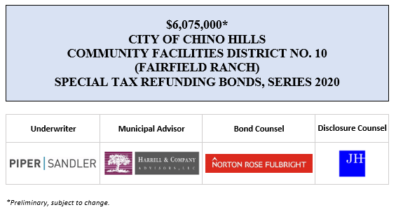 $6,075,000* CITY OF CHINO HILLS COMMUNITY FACILITIES DISTRICT NO. 10 (FAIRFIELD RANCH) SPECIAL TAX REFUNDING BONDS, SERIES 2020 POS POSTED 7-20-20