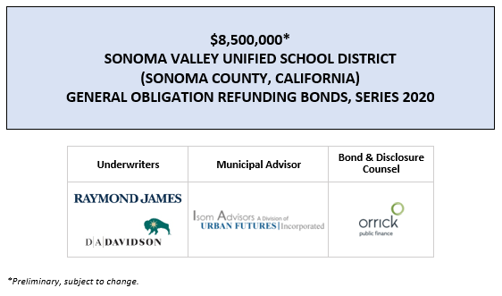 $8,500,000* SONOMA VALLEY UNIFIED SCHOOL DISTRICT (SONOMA COUNTY, CALIFORNIA) GENERAL OBLIGATION REFUNDING BONDS, SERIES 2020 POS POSTED 7-29-20
