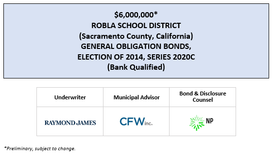 $6,000,000* ROBLA SCHOOL DISTRICT (Sacramento County, California) GENERAL OBLIGATION BONDS, ELECTION OF 2014, SERIES 2020C (Bank Qualified) POS POSTED 7-29-20