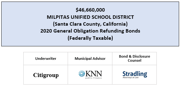 $46,660,000 MILPITAS UNIFIED SCHOOL DISTRICT (Santa Clara County, California) 2020 General Obligation Refunding Bonds (Federally Taxable FOS POSTED 7-15-20