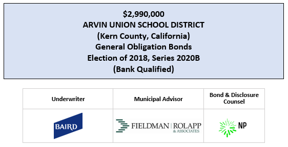 $2,990,000 ARVIN UNION SCHOOL DISTRICT (Kern County, California) General Obligation Bonds Election of 2018, Series 2020B (Bank Qualified) FOS POSTED 7-9-20