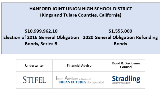 HANFORD JOINT UNION HIGH SCHOOL DISTRICT (Kings and Tulare Counties, California) $10,999,962.10 Election of 2016 General Obligation Bonds, Series B  $1,555,000 2020 General Obligation Refunding Bonds FOS POSTED 7-16-20