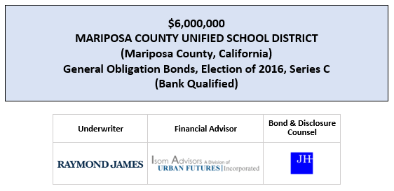 $6,000,000 MARIPOSA COUNTY UNIFIED SCHOOL DISTRICT (Mariposa County, California) General Obligation Bonds, Election of 2016, Series C (Bank Qualified) FOS POSTED 8-5-20