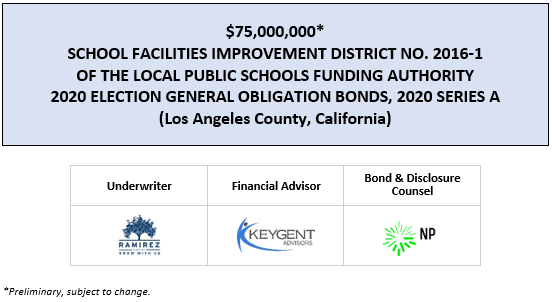$75,000,000* SCHOOL FACILITIES IMPROVEMENT DISTRICT NO. 2016-1 OF THE LOCAL PUBLIC SCHOOLS FUNDING AUTHORITY 2020 ELECTION GENERAL OBLIGATION BONDS, 2020 SERIES A (Los Angeles County, California) POS POSTED 8-4-20