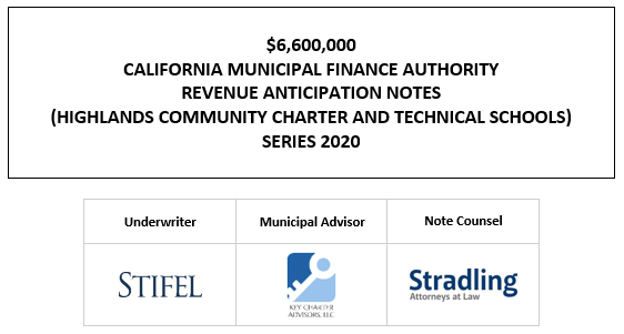 $6,600,000 CALIFORNIA MUNICIPAL FINANCE AUTHORITY REVENUE ANTICIPATION NOTES (HIGHLANDS COMMUNITY CHARTER AND TECHNICAL SCHOOLS) SERIES 2020 LOM POSTED 8-26-20