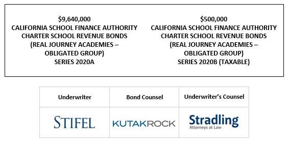 $9,640,000 CALIFORNIA SCHOOL FINANCE AUTHORITY CHARTER SCHOOL REVENUE BONDS (REAL JOURNEY ACADEMIES – OBLIGATED GROUP) SERIES 2020A $500,000 CALIFORNIA SCHOOL FINANCE AUTHORITY CHARTER SCHOOL REVENUE BONDS (REAL JOURNEY ACADEMIES – OBLIGATED GROUP) SERIES 2020B (TAXABLE) LOM POSTED 9-22-20