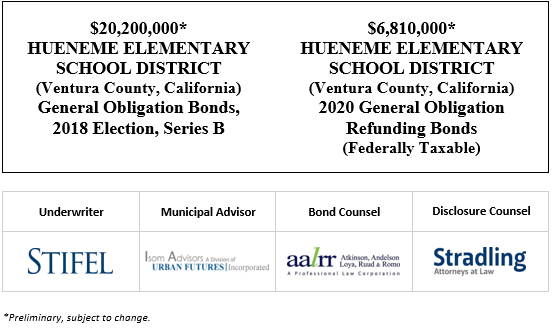 $20,200,000* HUENEME ELEMENTARY SCHOOL DISTRICT (Ventura County, California) General Obligation Bonds, 2018 Election, Series B $6,810,000* HUENEME ELEMENTARY SCHOOL DISTRICT (Ventura County, California) 2020 General Obligation Refunding Bonds (Federally Taxable) POS POSTED 9-10-20