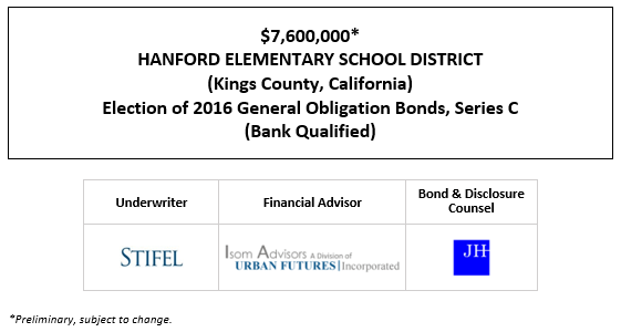 $7,600,000* HANFORD ELEMENTARY SCHOOL DISTRICT (Kings County, California) Election of 2016 General Obligation Bonds, Series C (Bank Qualified) POS POSTED 9-17-20