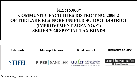 $12,515,000 * COMMUNITY FACILITIES DISTRICT NO. 2006-2 OF THE LAKE ELSINORE UNIFIED SCHOOL DISTRICT (IMPROVEMENT AREA NO. C) SERIES 2020 SPECIAL TAX BONDS POS POSTED 9-17-20