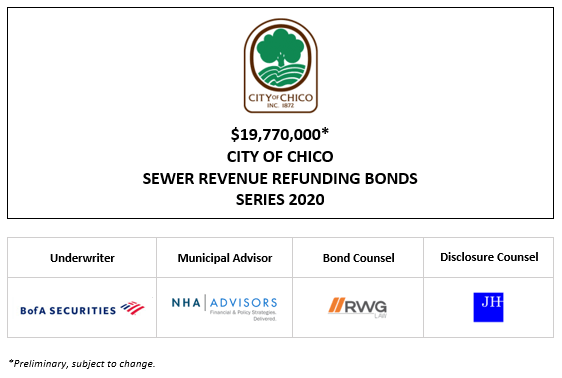 $19,770,000* CITY OF CHICO SEWER REVENUE REFUNDING BONDS SERIES 2020 POS POSTED 9-18-20