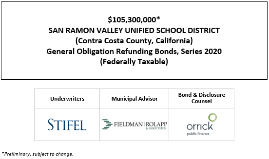 $105,300,000* SAN RAMON VALLEY UNIFIED SCHOOL DISTRICT (Contra Costa County, California) General Obligation Refunding Bonds, Series 2020 (Federally Taxable) POS POSTED 9-24-20