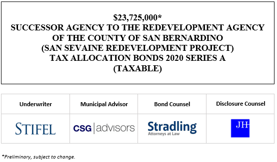 23,725,000* SUCCESSOR AGENCY TO THE REDEVELOPMENT AGENCY OF THE COUNTY OF SAN BERNARDINO (SAN SEVAINE REDEVELOPMENT PROJECT) TAX ALLOCATION BONDS 2020 SERIES A (TAXABLE) POS POSTED 9-24-20