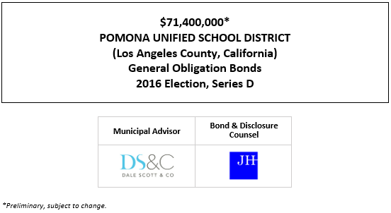 $71,400,000* POMONA UNIFIED SCHOOL DISTRICT (Los Angeles County, California) General Obligation Bonds 2016 Election, Series D POS POSTED 9-17-20