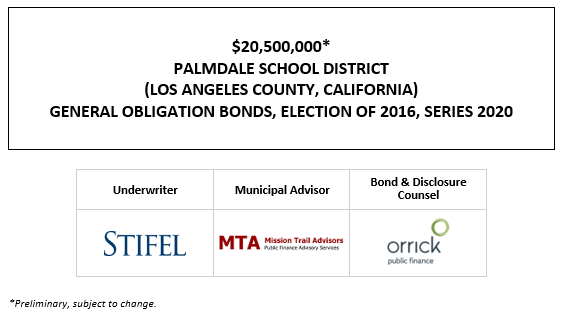 $20,500,000* PALMDALE SCHOOL DISTRICT (LOS ANGELES COUNTY, CALIFORNIA) GENERAL OBLIGATION BONDS, ELECTION OF 2016, SERIES 2020 POS POSTED 9-15-20