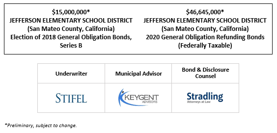 $15,000,000* JEFFERSON ELEMENTARY SCHOOL DISTRICT (San Mateo County, California) Election of 2018 General Obligation Bonds, Series B $46,645,000* JEFFERSON ELEMENTARY SCHOOL DISTRICT (San Mateo County, California) 2020 General Obligation Refunding Bonds (Federally Taxable) POS POSTED 9-22-20