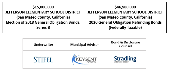 $15,000,000 JEFFERSON ELEMENTARY SCHOOL DISTRICT (San Mateo County, California) Election of 2018 General Obligation Bonds, Series B $46,980,000 JEFFERSON ELEMENTARY SCHOOL DISTRICT (San Mateo County, California) 2020 General Obligation Refunding Bonds (Federally Taxable) FOS POSTED 10-6-20