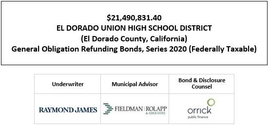 $21,490,831.40 EL DORADO UNION HIGH SCHOOL DISTRICT (El Dorado County, California) General Obligation Refunding Bonds, Series 2020 (Federally Taxable) FOS POSTED 10-6-20