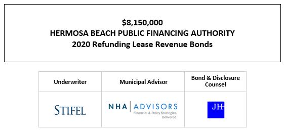 $8,150,000 HERMOSA BEACH PUBLIC FINANCING AUTHORITY 2020 Refunding Lease Revenue Bonds FOS POSTED 10-20-20