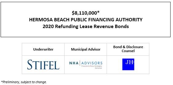 $8,110,000* HERMOSA BEACH PUBLIC FINANCING AUTHORITY 2020 Refunding Lease Revenue Bonds POS POSTED 10-1-20