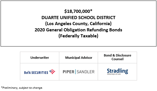 $18,700,000* DUARTE UNIFIED SCHOOL DISTRICT (Los Angeles County, California) 2020 General Obligation Refunding Bonds (Federally Taxable) POS POSTED 10-7-20