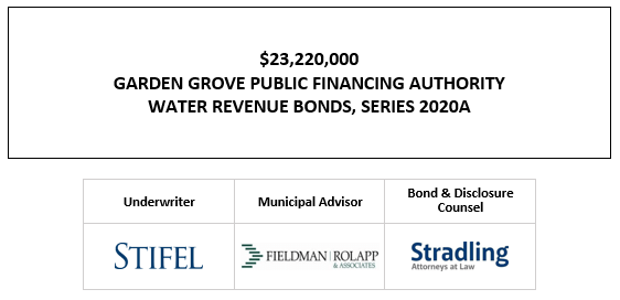 $23,220,000 GARDEN GROVE PUBLIC FINANCING AUTHORITY WATER REVENUE BONDS, SERIES 2020A FOS POSTED 10-29-20