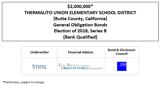 $2,000,000* THERMALITO UNION ELEMENTARY SCHOOL DISTRICT (Butte County, California) General Obligation Bonds Election of 2018, Series B (Bank Qualified) POS POSTED 10-15-20