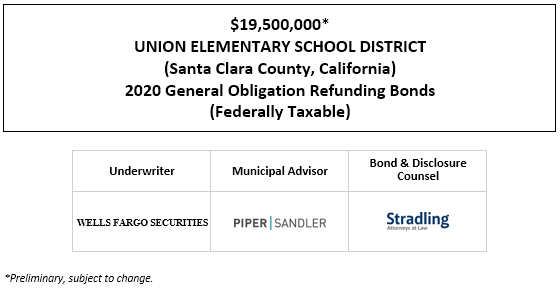 $19,500,000* UNION ELEMENTARY SCHOOL DISTRICT (Santa Clara County, California) 2020 General Obligation Refunding Bonds (Federally Taxable) POS POSTED 10-15-20