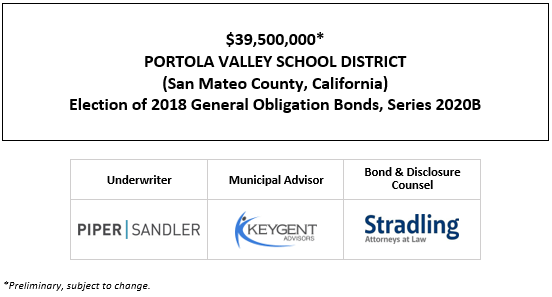 $39,500,000* PORTOLA VALLEY SCHOOL DISTRICT (San Mateo County, California) Election of 2018 General Obligation Bonds, Series 2020B POS POSTED 10-22-20