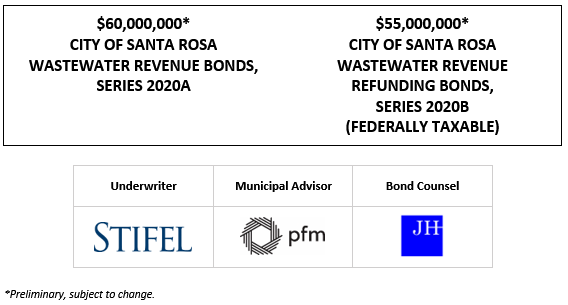 $60,000,000* CITY OF SANTA ROSA WASTEWATER REVENUE BONDS, SERIES 2020A $55,000,000* CITY OF SANTA ROSA WASTEWATER REVENUE REFUNDING BONDS, SERIES 2020B (FEDERALLY TAXABLE) POS POSTED 10-29-20
