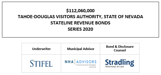 $112,060,000 TAHOE-DOUGLAS VISITORS AUTHORITY, STATE OF NEVADA STATELINE REVENUE BONDS SERIES 2020 FOS POSTED 11-6-20