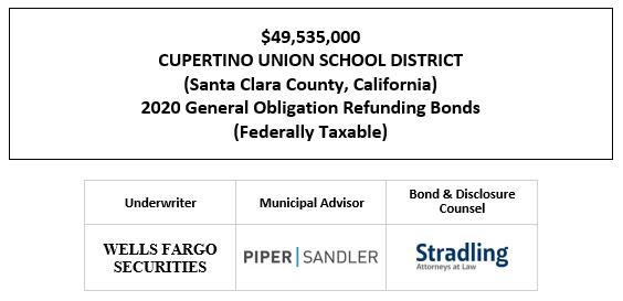 $49,535,000 CUPERTINO UNION SCHOOL DISTRICT (Santa Clara County, California) 2020 General Obligation Refunding Bonds (Federally Taxable) FOS POSTED 11-2-20