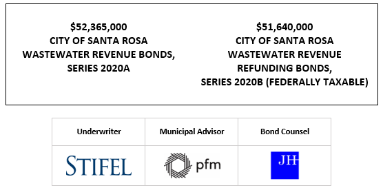 $52,365,000 CITY OF SANTA ROSA WASTEWATER REVENUE BONDS, SERIES 2020A $51,640,000 CITY OF SANTA ROSA WASTEWATER REVENUE REFUNDING BONDS, SERIES 2020B (FEDERALLY TAXABLE) FOS POSTED 11-18-20