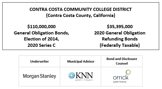 CONTRA COSTA COMMUNITY COLLEGE DISTRICT (Contra Costa County, California) $110,000,000 General Obligation Bonds, Election of 2014, 2020 Series C $35,395,000 2020 General Obligation Refunding Bonds (Federally Taxable) FOS POSTED 11-17-20